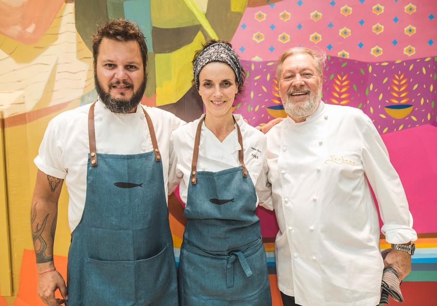 Chefs Leo Gonçalves, Helena Rizzo e Luciano Boseggia preparam menu especial na Escola de Gastronomia Social Ivens Dias Branco