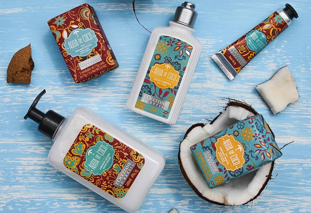 L'Occitane au Brésil e ÁGUA DE COCO por Liana Thomaz apresentam embalagem especial de verão