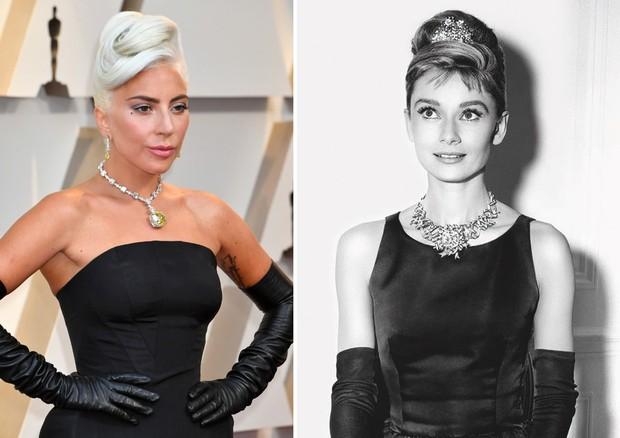Lady Gaga usa colar com diamante amarelo 128 quilates e homenageia Holly Golightly
