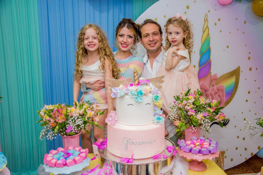 Giovanna Macedo ganha festa com temática de unicórnio para comemorar aniversário de quatro anos