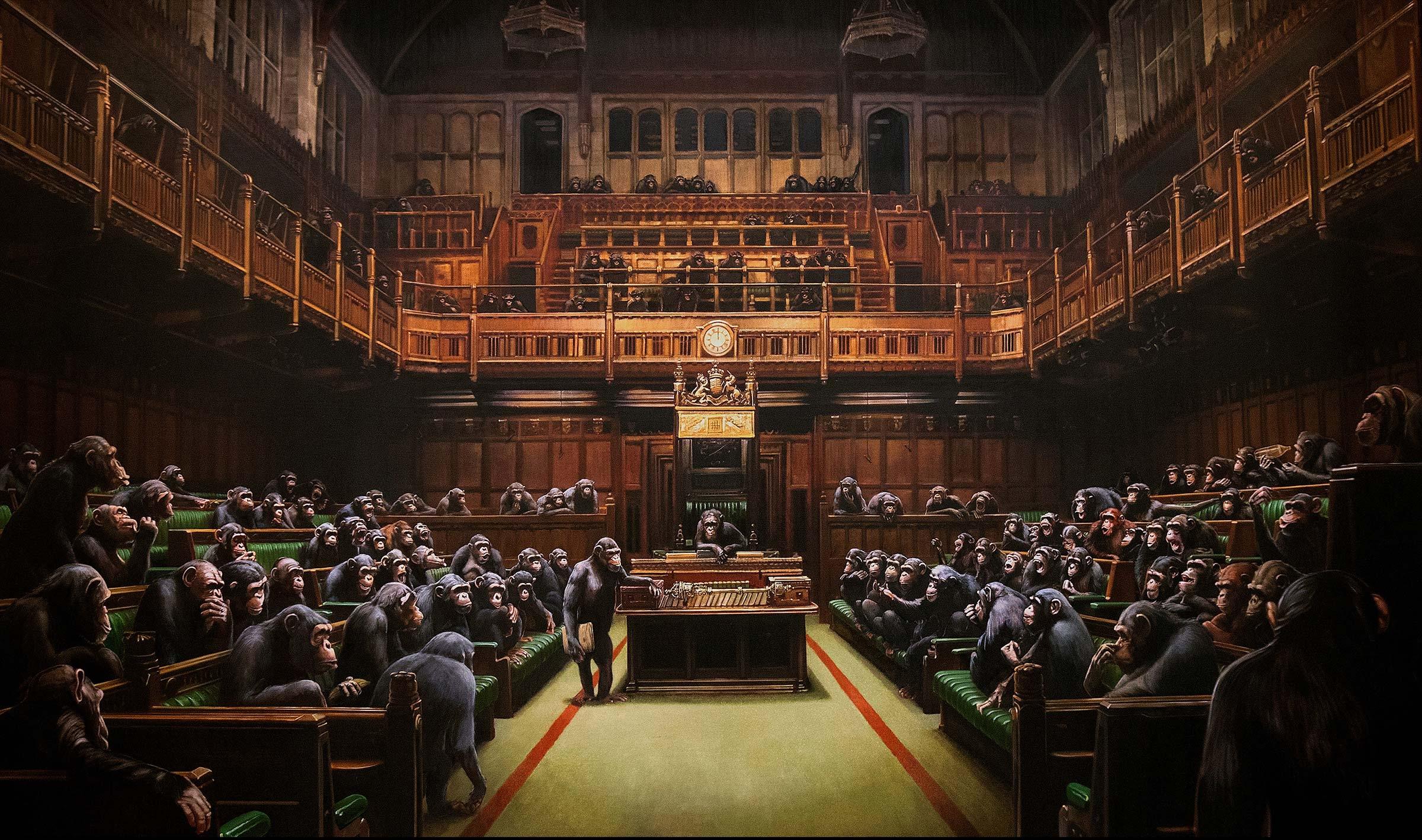Quadro de Banksy é leiloado por US$ 12,1 milhões, estabelecendo recorde