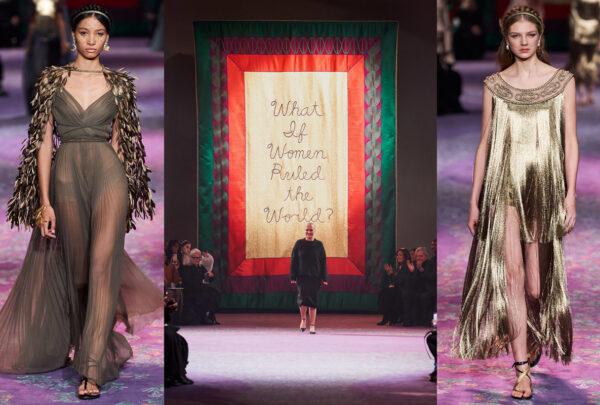 Em desfile de alta costura, Dior usa painéis com bordados feministas e sugere mundo governado por mulheres