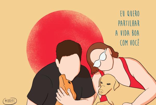 Artista cearense faz ilustrações de casais que estão separados durante a quarentena