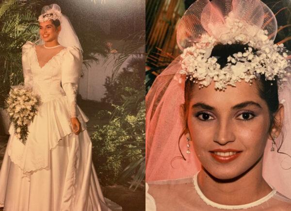 Mangas bufantes, cetim italiano e saia volumosa: veja detalhes do vestido usado no casamento de Márcia Travessoni