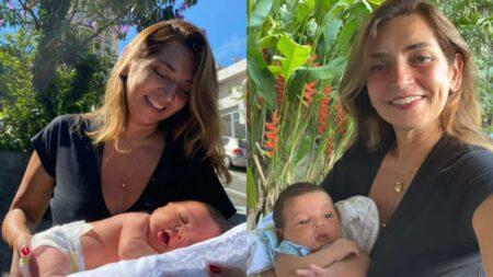 Márcia Travessoni celebra um mês de nascimento do neto Antônio