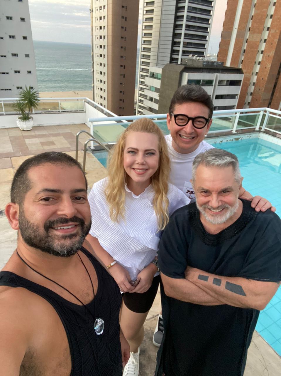 Lino Villaventura e Régis Vieira se encontraram com Branca e Racine Mourão (Foto: Arquivo pessoal)