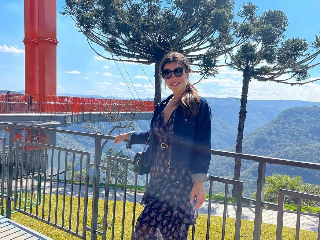 Camila Nogueira no parque Skyglass, que fica em Canela (Foto: Reprodução)