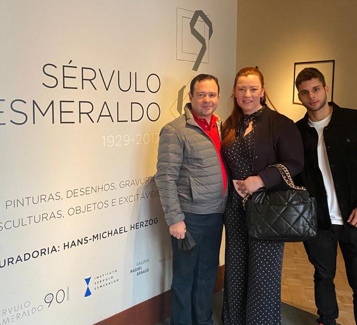 Aline Félix, Igor Queiroz e Lucas Barroso visitam exposição em São Paulo (Foto: Arquivo Pessoal)